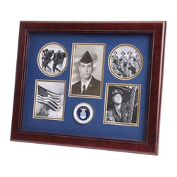 Flags Connections - U.S. Air Force Medallion 5 Picture Collage Frame - U.S. Air Force Medallion Collage Frame is designed to hold 5 pictures: one 3-Inch by 5-Inch picture, two circular 3-Inch pictures and two 3.5-Inch by 3.5-Inch pictures. These pictures are set into a double layer of Blue matting with Gold trim. The frame is made from Mahogany colored wood, and the outside dimensions measure 13-Inches by 16-Inches. The U.S. Air Force Medallion 5 Picture Collage Frame is perfect for proudly displaying the pictures of an individual who is serving, or has served in the U.S. Air Force.