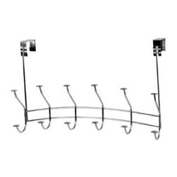 Spectrum Diversified Designs - Windsor Over The Door 6-hook Rack, Chrome - Add extra closet space to your bathroom, bedroom or any door in your home with the Windsor Over the Door 6-Hook Rack by Spectrum. This stylish rack offers 12 spots for hanging jackets, towels, hats, bags and more.