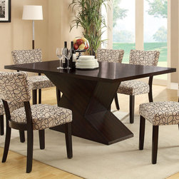 Coaster - Libby Dining Table - Crafted from poplar solids and birch veneers with clean lines accentuated by subtle curves on the chair back, this group makes a statement in your dining room. Dining set has a dark cappuccino finish with a vibrant patterned upholstered chair. Matching server features matching floating top, storage cabinets and drawers.