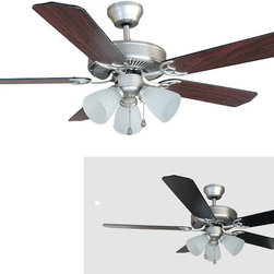 "Builder's Collection - Satin Nickel 52"" Ceiling Fan w/ Light Kit - Motor Finish: Satin Nickel"