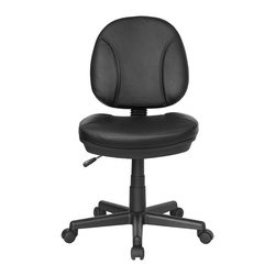Flash Furniture - Contemporary Office Chair w Ergonomic Design - One of the best task chair / computer chair values on the Internet. Ergonomically designed leather task chair. Black faux leather upholstery. Pneumatic seat height adjustment. Back tension control. Molded polypropylene back. Five star nylon base with dual wheel casters. Seat: 19 in. W x 17.5 in. D. Back: 16.5 in. w x 15 in. H. Seat Height: 17.5 in. - 22.5 in. H. Overall: 19 in. W x 21 in. D x 35 in. - 40 in. H (22 lbs.)