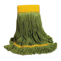 UNISAN - UNISAN EcoMop Looped-End Mop Head, Recycled Fibers, Large Size, Green - Four-ply mop head with engineered fibers made entirely from recycled material. Absorbs more than four times its weight in water. Looped ends reduce unraveling, fraying and lint.