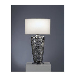 Nova Lighting - Nova Lighting 11076 30 Inch Wedge-Shaped Table Lamp with White Linen Shade from - 30 Inch Contemporary / Modern Wedge-Shaped Table Lamp with White Linen Shade from the Bird's Nest CollectionFeatures: