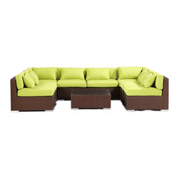 """Kardiel - Modify-It Outdoor Garden Furniture Modern Sofa Chaise Oahu 9-pc Set, Lime Green - The Oahu 9-piece all in one entertaining suite provides ample seating w/ a combination of both left & right sofa sectionals. This ergonomic configuration allows larger groups the luxury of an intimate setting where conversation flows effortless. A tempered glass top coffee table placed in the center connects all elements of the classic modern style.  The flexible nature of Modify-It modular allows for customized reconfiguring of the layout at will. The design origins are Clean European. The elements of comfort are inspired by the relaxed style of the Hawaiian Islands. The Aloha series comes in many configurations, but all feature a minimalist frame and thick, ample modern cube cushions. The back cushions are consistent in shape, not tapered in to create the lean back angle. Rather the frame itself is specifically """"lean tapered"""" allowing for a full cushion, thus a more comfortable lounging experience. The cushion stitch style utilizes smooth and clean hand tailoring, without extruding edge piping. The generously proportioned frame is hand-woven of colorfast, PE Resin wicker. The fabric is Season-Smart 100% Outdoor Polyester and resists mildew, fading and staining. The ability to modify configurations may tempt you to move the pieces around... a lot. No worries, Modify-It is manufactured with a strong but lightweight, rust proof Aluminum frame for easy handling."""