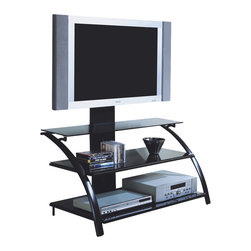 "Monarch Specialties - Monarch Specialties I 2046 Black Metal / Tempered Glass 42 Inch TV Stand - This modern TV console is the ultimate and sleek design. Manufactured from heavy gauge steel and black tinted tempered glass, this is the perfect stand to feature your flat screen TV. The universal mount (up to a 50"" screen) will ensure optimum viewing heights. The hidden wire management channel featured in the mounting system will ensure that everything looks neat and all wires are neatly concealed. TV Stand (1)"