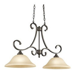 """Kichler - Kichler 43160OZ Monroe Single-Tier Linear Chandelier 2 Lights - 72"""" Chain - This 2 light chandelier island from the Monroe�� lighting collection is a unique twist on traditional Americana. The distinctive metal base is touched with a Brushed Nickel finish and Light Umber Etched Glass or an Olde Bronze finish, which beautifully complements the Light Umber Etched Glass adornment. With this design, we have turned tradition on its head to create an updated look.Product Features:"""