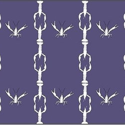 Casart coverings - Crawfish Cotillion Wall Covering, White/Purple - Our Crawfish Cotillion is original artwork that was created to bring awareness to ongoing Gulf Coast recovery efforts. The design is classical with a coastal and concealed twist. At first you might not notice our dancing crawfish but they are happy because their Gulf Coast shores are starting to come back strong.