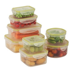 Snap-Tab 8 Piece Food Storage Set - Honey-Can-Do KCH-03828 8-Piece Locking Food Container Set, Clear. This eight piece set of food storage containers is perfect for storing leftovers, make-ahead meals and on-the-go lunches. Each container is 100 percent air and water tight. The set includes two 550ml containers, two 1.1L containers, two 830ml containers, one 3.4L container, and one 4.2L container. Dishwasher, microwave and freezer safe. When using in microwave, open closure clips on each side and open corner of lid to vent. Not for use in ovens, under broilers or on stove-top. BPA Free.