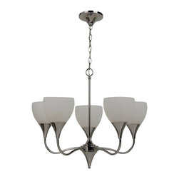Sea Gull Lighting - 31961-841 Five Light ChandelierSolana Collection - Five Light Chandelier in Polished Nickel Finish with Cased Opal Etched Glass Shades.