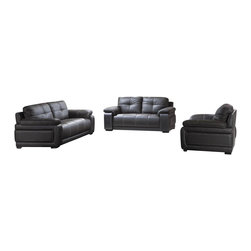VIG Furniture - 2972 Black Bonded Leather 3 Piece Sofa Set - The 2972 sofa set is a great addition for any modern themed living room decor. This sofa set comes upholstered in a beautiful black bonded leather. High density foam is placed within the cushions for added comfort. Only solid wood products were used when crafting the sofa set making it very durable. The sofa set includes one sofa, loveseat, and chair only.