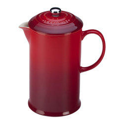 Le Creuset French Coffee Press - Le Creuset 27 oz. French coffee press is available in two colors: Cherry Red and Truffle
