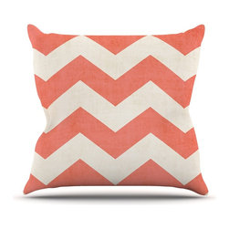 """Kess InHouse - Ann Barnes """"Vintage Coral"""" Orange Chevron Throw Pillow (16"""" x 16"""") - Rest among the art you love. Transform your hang out room into a hip gallery, that's also comfortable. With this pillow you can create an environment that reflects your unique style. It's amazing what a throw pillow can do to complete a room. (Kess InHouse is not responsible for pillow fighting that may occur as the result of creative stimulation)."""