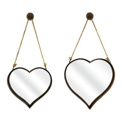 """Lamps Plus - Accent Heart Shaped 20 1/4"""" High Rope Wall Mirror Set of 2 - Mirror set. Set of 2. Heart-shaped design. Iron and rope construction. Rust colored bracket. Small mirror is 17 3/4"""" wide 16 1/2"""" high and 2 1/2"""" deep. Large mirror is 20"""" wide 20 1/4"""" high and 2 3/4"""" deep.         Mirror set.  Set of 2.  Heart-shaped design.  Iron and rope construction.  Rust colored bracket.  Small mirror is 17 3/4"""" wide 16 1/2"""" high and 2 1/2"""" deep.  Large mirror is 20"""" wide 20 1/4"""" high and 2 3/4"""" deep."""