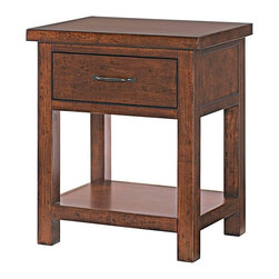 Lea Industries - Lea Grayson 1 Drawer Leg Nightstand in Mission - Lea Furniture Co., Inc. celebrates over 20 years of business in the U.S. as a leading manufacturer and distributor of fine quality furniture. Lea Furniture has succeeded in achieving this goal by securing a substantial place in the furniture industry nationwide. Even as their company has grown larger, the principles of a family run business trust, honesty and respect continue to be their foundation. When it comes to Lea Furniture products, it is their attention to detail and continued effort to satisfy you, the customer, which has secured their position as a leader in the furniture industry. From manufacturing facilities located overseas, Lea Furniture imports the highest quality, wood carved furniture into the United States. The products are then shipped to their corporate facilities where they are assembled and warehoused. With approx. 300,000 square feet of warehouse, assembly, and office space, they pledge to provide their customers with short turnaround times and special order capabilities based on their ability to support large capacities of inventory. Lea Furniture CO., Inc. supplies and services customers Worldwide from single stores to nationwide chain stores. - 324-411.  Product features: Solid wood and wood veneer; Mission finish; 1 Drawer; 1 Fixed Shelf: W20 D15 H11 . Product includes: Nightstand (1). 1 Drawer Leg Nightstand in Mission belongs to Grayson Collection by Lea Industries.