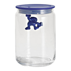 Alessi - Alessi Gianni Kitchen Glass Jar, Blue - A kitchen box in glass with hermetic lid in thermoplastic, Gianni is a little man holding on tight.