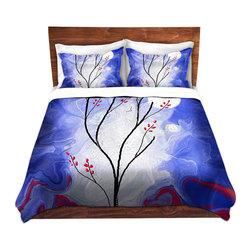 DiaNoche Designs - Duvet Cover Twill - Touch the Moon - Lightweight and soft brushed twill Duvet Cover sizes Twin, Queen, King.  SHAMS NOT INCLUDED.  This duvet is designed to wash upon arrival for maximum softness.   Each duvet starts by looming the fabric and cutting to the size ordered.  The Image is printed and your Duvet Cover is meticulously sewn together with ties in each corner and a concealed zip closure.  All in the USA!!  Poly top with a Cotton Poly underside.  Dye Sublimation printing permanently adheres the ink to the material for long life and durability. Printed top, cream colored bottom, Machine Washable, Product may vary slightly from image.