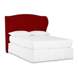 """Raleigh Wingback Headboard, Cal. King, Twill Sierra Red - Capturing the warm, luxurious style of wingback chairs first made popular in the 18th century, our softly upholstered Raleigh Bed provides an elegant sleep space with distinctive character. Crafted with a kiln-dried hardwood frame. Headboard, footrail and side rails are thickly padded and tightly upholstered with your choice of fabric. Exposed block feet are hand finished in Espresso. Bed is designed for use with a box spring. Headboard also available separately. The headboard-only option is guaranteed to fit with our PB metal bed frame using the headboard hardware. Crafted in America. Full Bed: 66.5"""" wide x 83.5"""" long x 59"""" high Queen Bed: 73.5"""" wide x 88.5"""" long x 59"""" high King Bed: 89.5"""" wide x 88.5"""" long x 59"""" high Cal. King Bed: 86"""" wide x 92.5"""" long x 59"""" high Full Headboard: 63"""" wide x 59"""" high x 11"""" deep Queen Headboard: 70"""" wide x 59"""" high x 11"""" deep King Headboard: 86"""" wide x 59"""" high x 11"""" deep Cal. King Headboard: 82.5"""" wide x 59"""" high x 11"""" deep"""