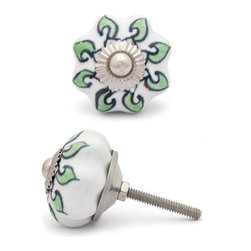 """Knobco - Ceramic Knob, Green Leaf and White - Green leaf with white base ceramic knob, perfect for your kitchen and bathroom cabinets! The knob is 1.5"""" in   diameter and includes screws for installation."""