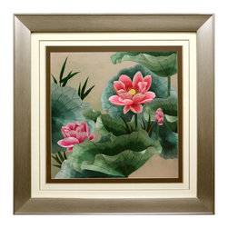 China Furniture and Arts - Lotus Flower Silk Embroidery Frame - Silk embroidery is a Chinese art form with origins dating back thousands of years. With each piece containing thousands of tiny threads, a composition requires an extremely high level of skill to create. The lotus flowers featured on this embroidery symbolize honesty and purity in Chinese culture. The reflective nature of the silk thread allows the vibrant pink and green tones to stand out beautifully in light.  Museum quality hardwood framing makes this piece ready to hang and make a statement on any wall it is placed.