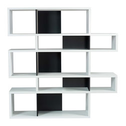 Temahome - London Composition 2010-002, Pure White Frame, Pure Black Backs - The London modular bookshelf presents a charismatic, yet truly functional product that can be set against a wall or used as a room divider. With multiple color options you can choose a shelf to be completely in one finish or else contrast the finishes so that the backs and dividers are different from the frame.  Available in three heights, the London is versatile for every sort of interior,  and you can set your imagination free and adapt this piece to create the desired ambiance.