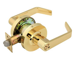 Premier - Commercial Duty Front Door Entry Lockset - Polished Brass - This master keyed (Series P) heavy duty ANSI Grade 2 certified cylindrical Key-In style Lever handle entry lockset is ADA approved for barrier free access on all commercial and residential exterior doors. The versatile, reversible, Lever handle can be used for either right or left handed applications. The 5in. handles work independently of each other. The exterior handle is removable for ease of rekeying. The 2-3/4in. backset latch meets the UL 3 Hour Fire Rating. This lockset is made to fit doors between 1-3/8in. and 1-3/4in. The 6 pin solid brass SC1 keyway is keyed to 5 pins. The US3 polished brass finish is covered by a 10 Year Warranty. Legend Contractor Series leversets also carry a Lifetime Mechanical Warranty.