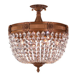 Worldwide Lighting - Winchester 4 Lights French Gold & Clear Crystal Semi-Flush Mount - This stunning 4-light Semi-Flush mount only uses the best quality material and workmanship ensuring a beautiful heirloom quality piece. Featuring a cast aluminum base in french gold finish and all over clear crystal embellishments made of finely cut premium grade 30% full lead crystal, this flush mount will give any room sparkle and glamour. Worldwide Lighting Corporation is a privately owned manufacturer of high quality crystal chandeliers, pendants, surface mounts, sconces and custom decorative lighting products for the residential, hospitality and commercial building markets. Our high quality crystals meet all standards of perfection, possessing lead oxide of 30% that is above industry standards and can be seen in prestigious homes, hotels, restaurants, casinos, and churches across the country. Our mission is to enhance your lighting needs with exceptional quality fixtures at a reasonable price.