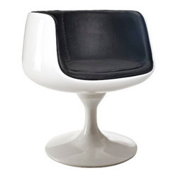 "LexMod - Cup Dining Armchair in Black - Cup Dining Armchair in Black - Contain far-reaching motivations in one single enclosure. With its open front and insulated fiberglass casing, the Cup Chair is a cache of stable exuberance made public. Give an appreciative tone to your room with a piece that fosters gratitude and comfort. Set Includes: One - Cup Chair Modern classic design, Lined vinyl interior, Durable Fiberglass Plastic, Flowing pedestal stand Overall Product Dimensions: 25""L x 25""W x 25""H Seat Height: 17""H Armrest Height: 27""H - Mid Century Modern Furniture."