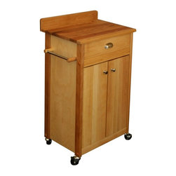 Catskill - Catskill Butcher Block Cart with Backsplash - 51531 - Shop for Carts from Hayneedle.com! The Catskill Butcher Block Cart with Backsplash is the perfect way to add extra space and stylish storage to your kitchen. This versatile cart is made of a Northeastern hardwood and features a natural oil finish and a classic butcher block top. Lower doors open to reveal spacious storage and an adjustable shelf for serving dishes or appliances. A top drawer keeps other kitchen essentials like knives or cookware close at hand. Other features include smooth-rolling casters (2 locking) side towel racks and integrated backsplash. Proudly made in the USA with sustainably harvested domestic hardwood.About CatskillBased in Stamford New York Catskill Craftsmen is the nation's leading manufacturer of ready-to-assemble kitchen islands carts and work centers. Every item is made from naturally self-sustaining non-endangered North American hardwoods like birch and hard rock maple. Because all sawdust shavings and waste materials generated during the manufacturing process are converted into wood pellet fuel Catskill Craftsmen generates no wood waste. Founded in 1948 this privately held company is dedicated to offering high-quality products at fair prices and the best customer service in the industry.