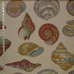 Seashell fabric nautilus tan toile, Standard Cut - A seashell fabric with a very large scale indeed! There are scallops, nautilus, conchs, and many others. The background fabric is listed in the solid fabric category.