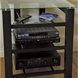 Plateau SL-4A Audio Rack TV Stand in Black - The Plateau SL-4A Audio Rack/TV Stand in Black has ample space for your audio system and more. This audio rack and TV stand combination is made of quality wood veneers on MDF frame coated in a durable satin black finish. It features shelves of safety glass with polished edges. The three lower shelves have cord management holes to keep you organized. The top shelf is strong enough to hold up to a 27-inch flat panel TV. Some assembly is required.About Plateau CorporationPlateau Corporation utilizes the finest materials to provide you with state of the art audio and video home theater furniture systems. Entertainment centers created by Plateau Corporation are a fusion of innovative engineering and contemporary design. Their product list includes entertainment centers, media storage, TV armoires, and TV stands that are all are easy to assemble, incredibly durable, and specially made to highlight your audio/video system. Their unique entertainment centers can grow as your system grows.