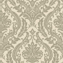 Color Damask Wallpaper, Clay, Swatch - • Vinyl Covered Paper