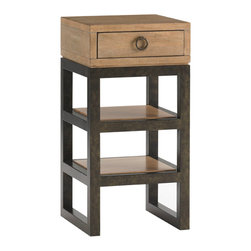 Lexington - Lexington Monterey Sands Rossmore Nightstand 830-622 - Upgrading to the king size bed can sometimes rob you of precious wall space. If this is your scenario, we have a great solution in the 15-inch metal based nightstand. The two shelves and drawer provide room for a lamp, alarm clock, and books.