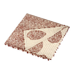 Alamwar - Masala Chai Kanta Quilt - Introduce the warm and soothing spices from your favorite masala chai to your bedroom with this kanta quilt. The beautifully ethnic look is made by hand in India and features vintage threads and fabrics from colorful saris. It's the easiest way to layer texture and charm on your bed.