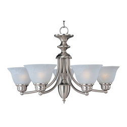Malaga EE-Single-Tier Chandelier - The energy saving Malaga EE collection is finished in choice of Satin Nickel or Oil Rubbed Bronze completed with Marble glass. Fixtures include energy efficient, long lasting and low maintenance compact fluorescent bulbs, with select fixtures being Energy Star certified.