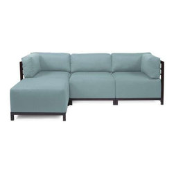 Howard Elliott Sterling Breeze Axis 4-Piece Sectional - Mahogany Frame - A Fashionable Trio! Lounge in style on a Sterling Axis 4-piece Sectional will intoxicate your room with its uplifting style. Float the Sterling Axis 4-piece Sectional in your room for an intimate seating arrangement. Expand your sectional with additional chair, corner or ottoman pieces. The steel frame is available in 2 finishes allowing you to choose a frame to best compliment your color. This piece features boxed cushions with Velcro attachments to keep the cushions from slipping and looking their best all of the time. Your Sterling Axis 4-piece Sectional will definitely turn heads with its sophisticated linen-like texture and vibrant color selection.