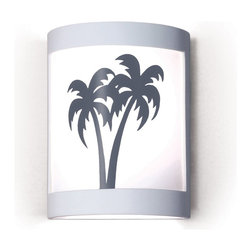 A19 Lighting - Twin Palms Island Themed Silhouette Wall Sconce - A19'S Twin Palms Sconce Brings An Echo Of The Islands, As Two Palm Trees Sway In The Sea Breezes. The Image Is Reverse-Painted On A Translucent White Film And Framed In Ceramic. The Effect Is Refreshing Yet Dramatic. The Frame Is Also Available In A Number Of Colors And Faux Finishes Ranging From Rustic Metals To Rich Glossy Glaze.Height:10.25