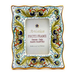 Artistica - Hand Made in Italy - Photo Frame: Deruta Vario Foglie Verdi - Deruta Photo Frames: