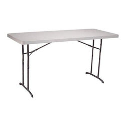 Lifetime - 6 ft. Adjustable Folding Table in Almond & Br - Choose Quantity: 4 TablesMaterials made of high-density polyethylene (HDPE) plastic, powder-coated steel, 28 mm. steel tubing. Adjusts to 22 in. (children's height), 29 in. (table height) and 36 in. (countertop height). Rust-resistant. Patented lightweight design. Stain resistant and easy to clean. No assembly required. Meets ANSI/BIFMA standards. 10-Year limited factory warranty. 72 in. L x 30 in. W x 22 to 36 in. HWith the Lifetime adjustable height folding table, you'll be ready for anything from a formal dinner banquet to a children's birthday party. It allows you to choose from three different table heights to accommodate your needs for a variety of occasions. A Lifetime adjustable height folding table is designed with top-quality construction. This is an all around great table to have on hand, providing portability and versatility, with very low maintenance.