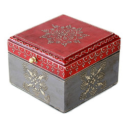 """MarktSq - Square Wooden Hand Painted Jewelry Box in Dark Red and Grey - Rustic hand painted jewelry box ideal for storing jewelry or other trinkets. The box has a distressed finish and a brass pull and features an intricate pattern in silver that adds to it's elegance. The approximate dimensions are L 5.8"""" x W 5.8"""" x H 4""""."""