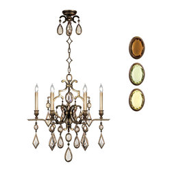 Fine Art Lamps - Fine Art Lamps 718240-1ST Encased Gems Bronze Multi Color Crystal 6 Light Chande - 6 Bulbs, Bulb Type: 60 Watt Candelabra; Weight: 28lbs