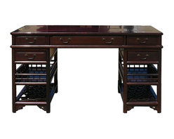 Golden Lotus - Chinese Rosewood 3 Pieces Lettuce Base Writing Desk - This is an oriental style writing desk made of Chinese rosewood nice wood pattern. It is a combination of two bases and a desk top . It has simple clean shape decorated with plain hardware and lettuce pattern base.