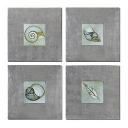 Grace Feyock - Grace Feyock Neptune's Garden Wall Art / Wall Decor X-27314 - Prints are outlined with metallic accents. Frames feature a champagne silver leaf base with a light brown glaze.