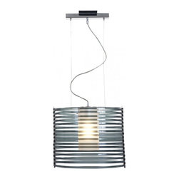 Access Lighting - Enzo 1-Light Acrylic Pendant - Large - Contemporary 1-light cylinder shaped pendant in chrome finish. Available in clear acrylic or smoke acrylic glass