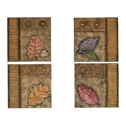 Welcome Home Accents - Set of 4 Square Leaf Design Wall Decor - Set of 4 wall art features soft gold background with a unique color leaf on each wall decor. Hang the 4 pieces in any configuration.