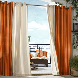 Outdoor Decor - Outdoor Decor Gazebo Stripe Grommet Outdoor Curtain Panel - 70316-109-50X84-ORAN - Shop for Patio Curtains from Hayneedle.com! About Commonwealth Home Fashions A family business Commonwealth Home Fashions was founded in 1946 by the Levenson brothers. Today the operate facilities in Montreal Qc Canada and in Willsboro NY. Over the years they've built their reputation by producing and importing decorative soft window treatments decorative pillows and throws bed coverings shower curtains and more.