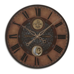 """Uttermost - Uttermost 06038  Simpson Starkey 23"""" Wall Clock - Weathered, laminated clock face with cast brass details and internal pendulum. requires 1-aa battery."""