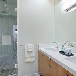 Frameless Shower Enclosures - Smaller bath in NYC, featuring a frameless shower door, configured as a single door and full height  vanity mirror.