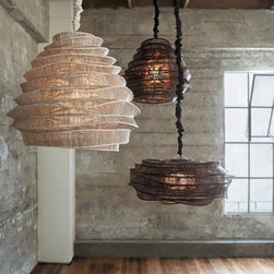 Bamboo Cloud Chandeliers - Chandeliers with natural bamboo shades.