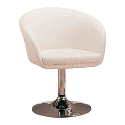Adarn Inc - Contemporary White Upholstered in Faux Leather Steel Base Dining Arm Chair - This cool contemporary faux leather dining chair will be a stylish addition to your casual dining room. The plush curved chair back and seat are covered in a rich faux leather,  Curved upholstered track arms wrap around the seat to keep you comfortable. A shiny steel base with a high polished chrome finish supports the chair, adding a unique touch to this sophisticated chair. Transform your dining room with this bold contemporary look.
