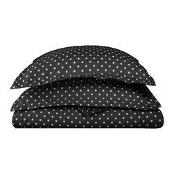 600 Thread Count Twin Duvet Set Cotton Rich Polka Dot - Black - 600 Twin Duvet Set Cotton Rich Polka Dot - Black